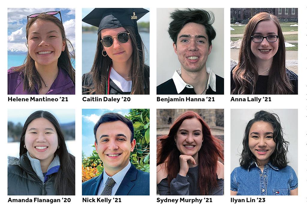 From left to right, first row, Helene Mantineo '21, Caitlin Daley '20, Benjamin Hanna '21, Anna Lally '21, second row, Amanda Flanagan '20, Nick Kelly '21, Sydney Murphy '21, and Ilyan Lin '23.
